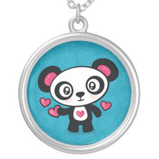 Niedliche Pandahalskette Versilberte Kette