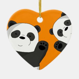 Niedliche Pandas Keramik Ornament