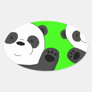 Niedliche Pandas Ovaler Aufkleber