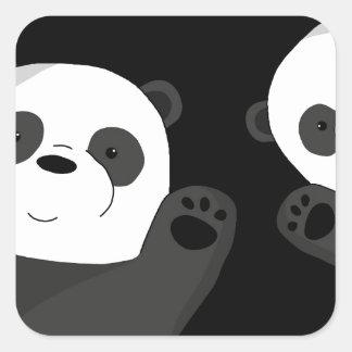 Niedliche Pandas Quadratischer Aufkleber