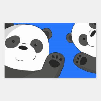 Niedliche Pandas Rechteckiger Aufkleber