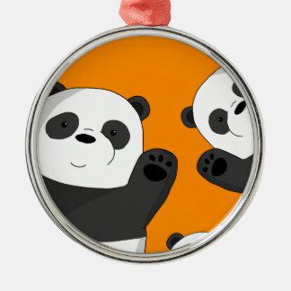 Niedliche Pandas Silbernes Ornament