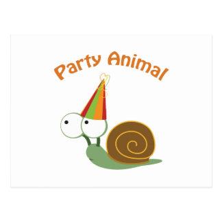 Niedliche Party-Tier-Schnecke Postkarten