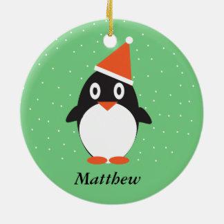 Niedliche Penguin-Weihnachtsbaum-Verzierung Rundes Keramik Ornament