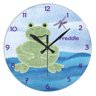 Niedliche personalisierte Frosch-Uhr Große Wanduhr