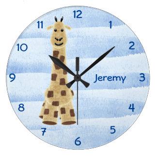 Niedliche personalisierte Giraffen-Wand-Uhr - Blau Große Wanduhr