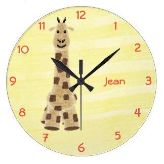 Niedliche personalisierte Giraffen-Wand-Uhr - Gelb Große Wanduhr