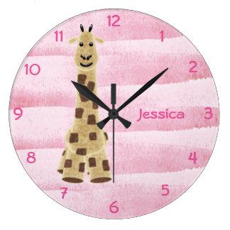 Niedliche personalisierte Giraffen-Wand-Uhr - Rosa Große Wanduhr