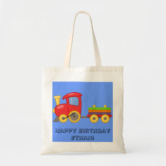 Niedliche personalisierte Zug-Geburtstags-Tasche Tragetasche