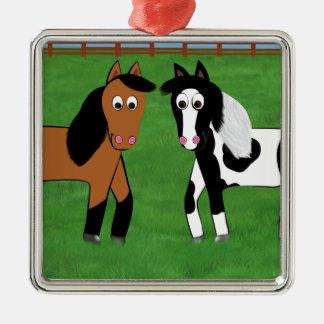 Niedliche Pferde Quadratisches Silberfarbenes Ornament