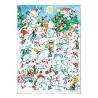 Niedliche polarer Bärpenguin-WeihnachtsParty Karte