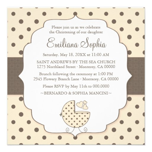 Niedliche Polka-Punkt-moderne Baby-Taufeinladung Individuelle Einladungskarten