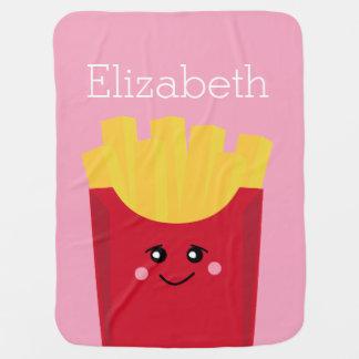 niedliche Pommes-Frites mit rosa Hintergrund Babydecken