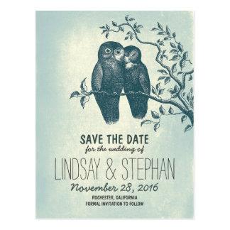 niedliche Postkarten der Liebeeulen-Paare Save the