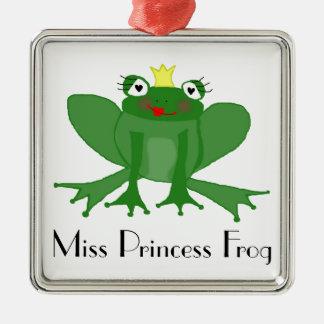 Niedliche Prinzessin Frog Silbernes Ornament
