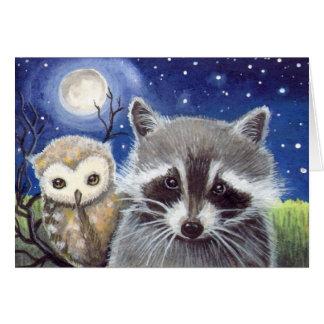 Niedliche Raccoon-und Eulen-Fantasie-Kunst Grußkarte