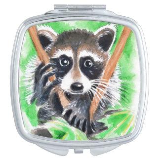 Niedliche Raccoonwatercolor-Kunst Taschenspiegel