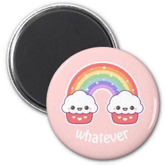 Niedliche Regenbogen-kleine Kuchen Runder Magnet 5,7 Cm