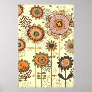 Niedliche retro Orange, braune Blumenmustergewohnh Poster