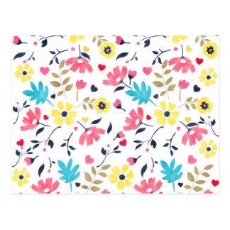 Niedliche romantische Blumenherz-Wasserfarbefarbe Postkarte