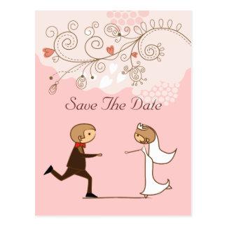 Niedliche romantische Braut u. Bräutigam Save the Postkarten