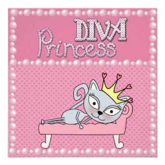 Niedliche rosa Baby-Duschen-Diva-Prinzessin Kitty Quadratische 13,3 Cm Einladungskarte