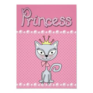 Niedliche rosa Baby-Duschen-Prinzessin Kitty Cat 12,7 X 17,8 Cm Einladungskarte