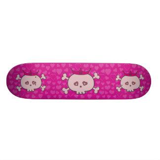 Niedliche rosa Cartoon-Prinzessin Skulls u. Herzen Skate Board