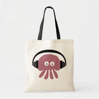 Niedliche rosa Cartoon-Quallen DJ mit Kopfhörern Budget Stoffbeutel