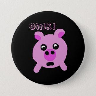Niedliche rosa Cartoon-Schwein-Oink Typografie Runder Button 7,6 Cm