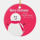 Niedliche rosa eisige Snowman-Weihnachtsverzierung Weihnachtsbaum Ornamente