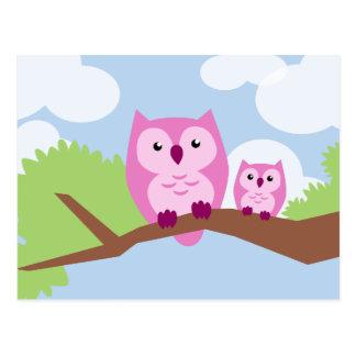 Niedliche rosa Eulen-Mamma und Baby Postkarten