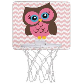Niedliche rosa Eulen-Zickzack Minikorb-Ball-Band Mini Basketball Ringe