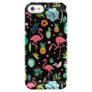 Niedliche rosa Flamingos u. tropische Durchsichtige iPhone SE/5/5s Hülle