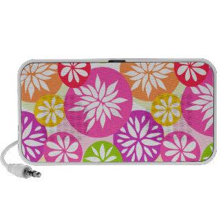 Niedliche rosa grüne und orange Blumen kritzeln Mp3 Speaker