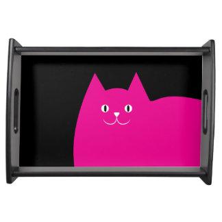 Niedliche rosa Katze Tablett
