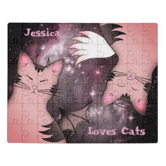 Niedliche rosa Katzen Puzzle
