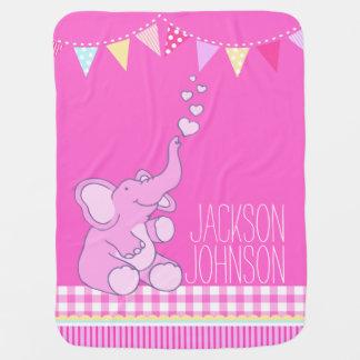 Niedliche rosa Mädchen nannten Elefantbabydecke Babydecke