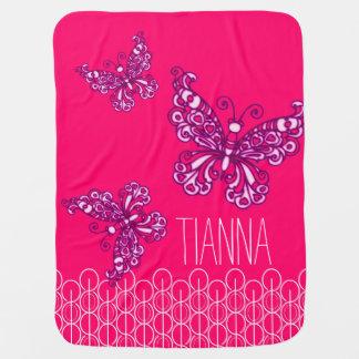 Niedliche rosa Mädchen nannten Schmetterlinge Baby-Decken
