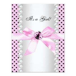 Niedliche rosa Marienkäfer-Baby-Dusche Karte