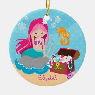 Niedliche rosa Meerjungfrau-personalisierte Keramik Ornament