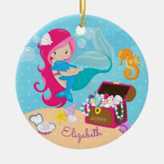 Niedliche rosa Meerjungfrau-u. Keramik Ornament