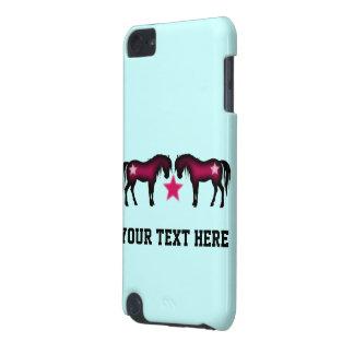 Niedliche rosa Pferde auf Blau iPod Touch 5G Hülle