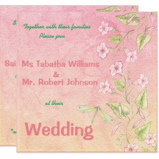 Niedliche rosa quadratische Hochzeits-mit Karte