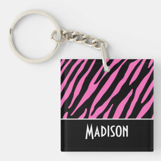 Niedliche rosa u. schwarze Zebra-Streifen Schlüsselanhängern