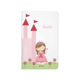 Niedliche rosa und rote Prinzessin und Schloss Taschennotizbuch