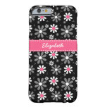 Niedliche rosa und schwarze Girly Barely There iPhone 6 Hülle