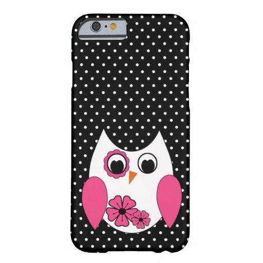 Niedliche rosa und weiße Eulen-Polka-Punkte Barely There iPhone 6 Hülle