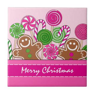 Niedliche rosa Weihnachtslebkuchen Keramikfliese