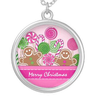 Niedliche rosa Weihnachtslebkuchen Versilberte Kette